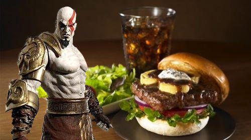 And then Kratos went out for dinner for a delicious burger and his favourite Barq's root beer.